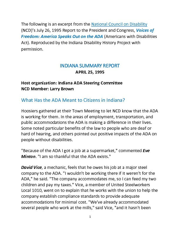 Indiana Summary from the Report Voices of Freedom: America Speaks Out on the ADA