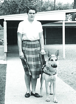 Pauline Ulrey and Leader Dog, Danny, 1963