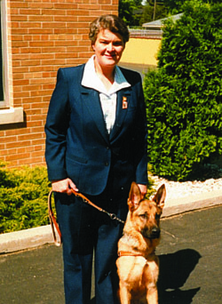 Pauline Ulrey and Leader Dog, Keller, 1986