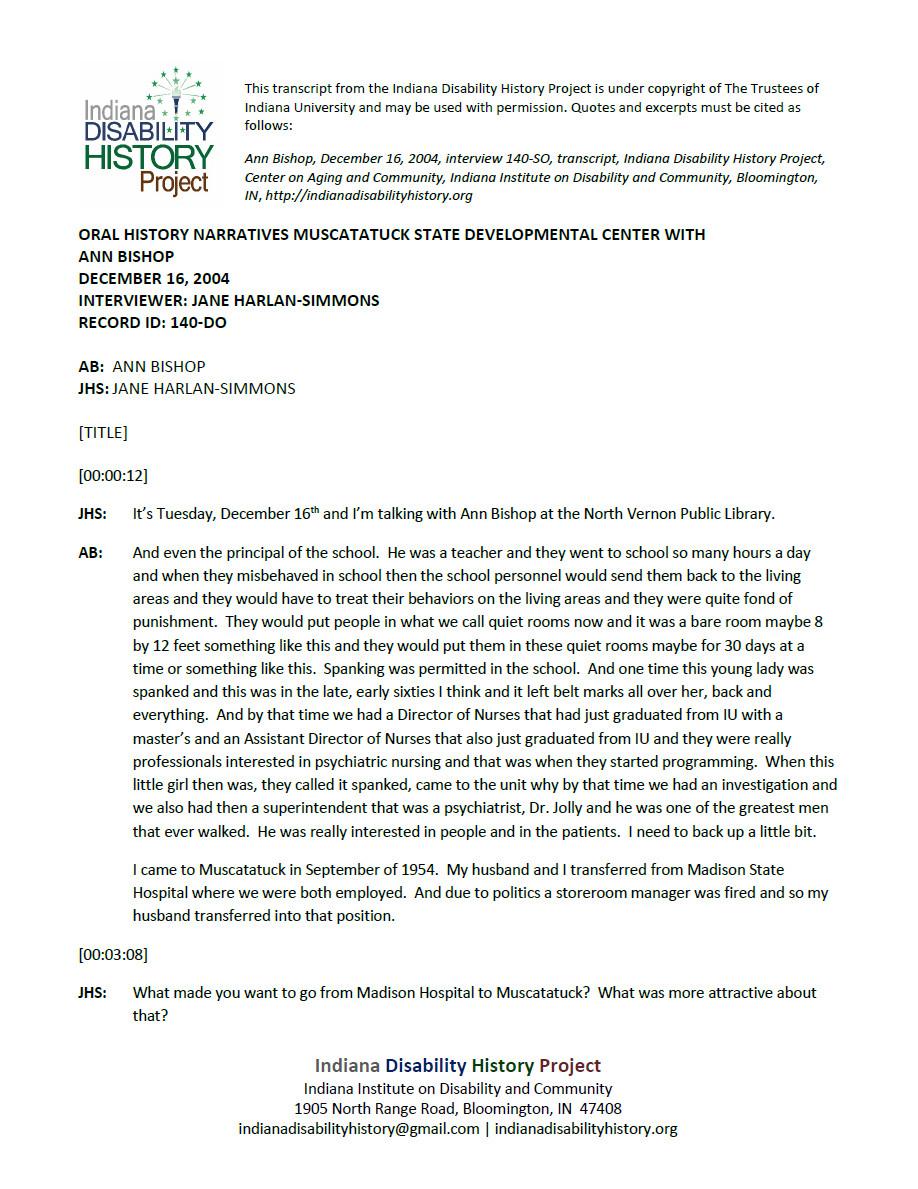 Transcript: Muscatatuck Oral History - Ann Bishop Interview