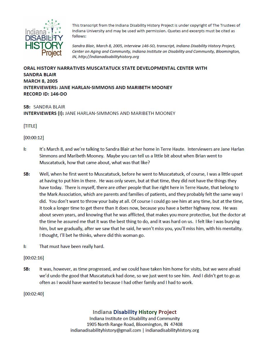Transcript: Muscatatuck Oral History - Sandra Blair