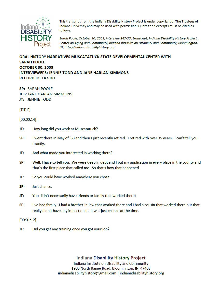 Transcript: Muscatatuck Oral History - Sarah Poole Interview
