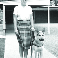 Pauline Ulrey and Leader Dog, Danny, 1963