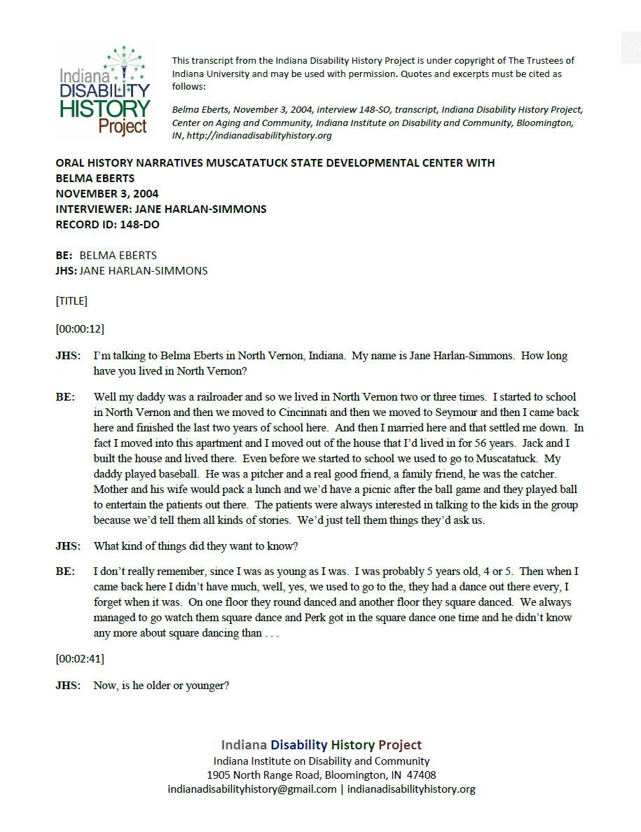 Transcript: Muscatatuck Oral History - Belma Elberts Interview